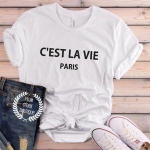 C'est La Vie Paris White TShirt NEW NWT